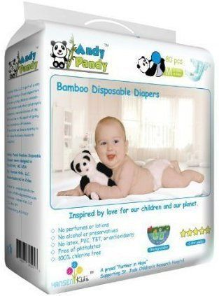 Andy Pandy Biodegradable Bamboo Disposable Diapers, Newborn, 50 Count-Pack  Eco-friendly diapers made from the highest quality premium materials. Naturally hypoallergenic and antibacterial making it ideal for babies with sensitive skin.  Made from biodegradable bamboo, it is extremely soft and silky to the touch, yet strong and absorbent. You will be 100 percent satisfied with it's quality.  Moisture wicking and thermal regulating capabilities that keep your baby's skin dry and comfort...