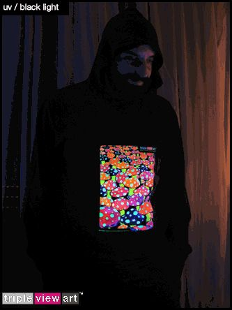 """Mushrooms"" UV-Blacklight Fluorescent & Glow-In-The-Dark Phosphorescent Psychedelic Art Mens Hoodie, £28 in Tripleview Art Web Shop.  #psychedelic #psy #trance #psytrance #goatrance #rave #trippy #hippie #esoteric #mystic #spiritual #visionary #symbolism #UV #blacklight #fluorescent #fluoro #fluo #neon #glow #glowinthedark #phosphorescent #luminescent #art #hoodie #amanita #flyagaric #psychotropic #mushrooms #toadstools #magicmushrooms"