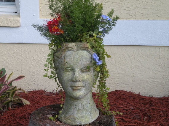 Good Garden Lady Head Planter With Victorian Shabby By BloominHappy2009, $100.00