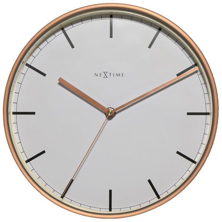 NeXtime Company Copper Wandklok 25 cm - Wit/Koper - Nextime