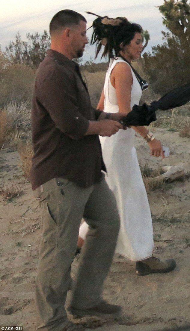 Queen of the desert: Kylie Jenner walks through the desert during a photo shoot on Thursda...