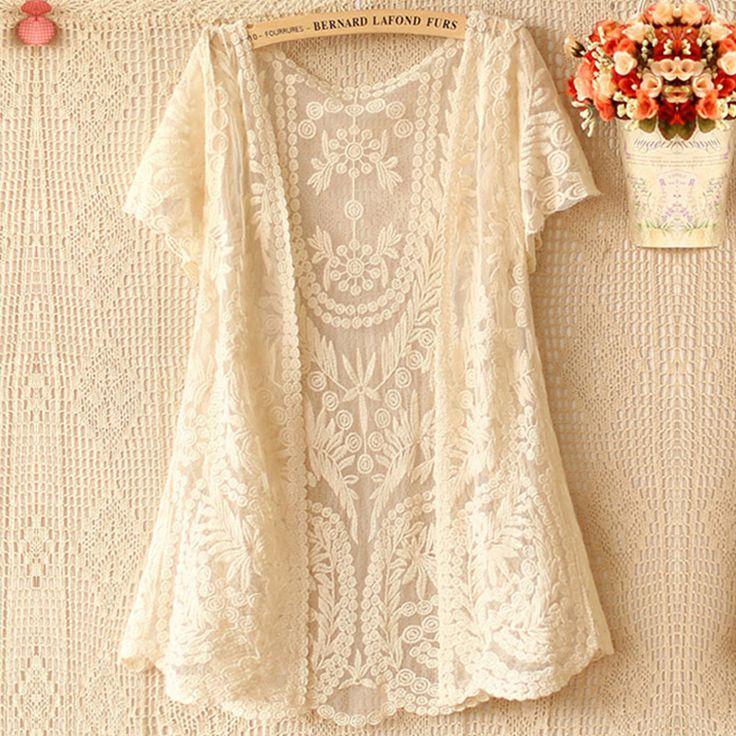 Harajuku Women Summer Sweet Mori Girl Mesh Hollow Out Embroidery Floral Loose Shirt Lolita Female Vestido Lace Top Vestido U148