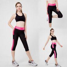 2016 verão new hot mulheres cor da moda Estrangeira de fitness feminino sete pontos bolso lateral elástico fino hip Leggings Frete grátis(China (Mainland))