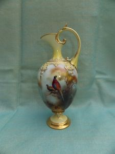 Royal Worcester porcelain ewer signed by Harry Martin, c1903