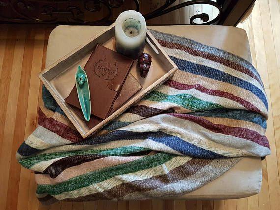 Vintage handmade wool weighted striped blanket wool throw