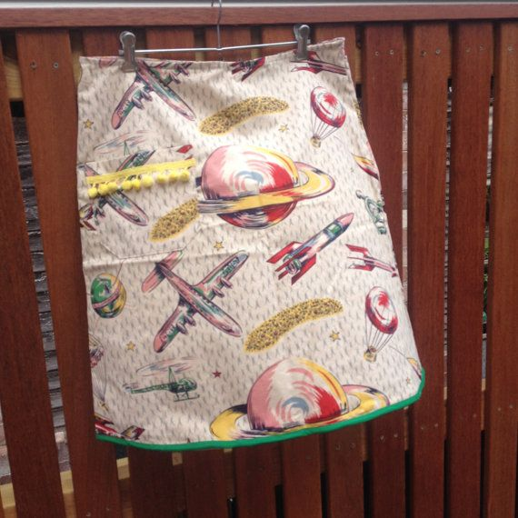 Out of This World Vintage Cotton Fabric Skirt A by byShoebridge