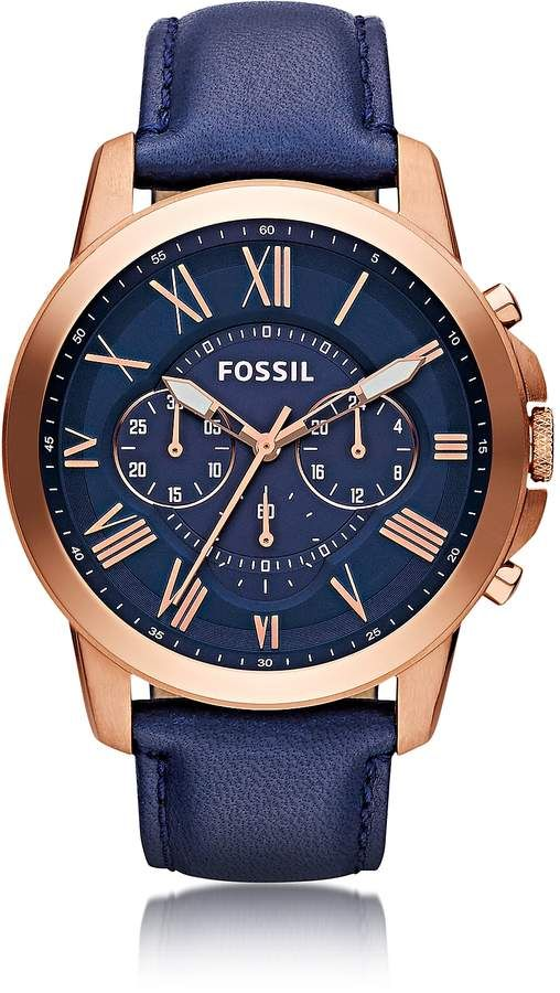 446a6a96b1148 Grant Chronograph Rose Gold Tone Stainless Steel Case and Navy Blue Leather  Strap Men s Watch is a bold