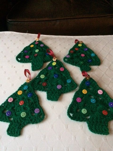Crochet Christmas Trees with button baubles and little sequin stars to hide ribbon hooks.