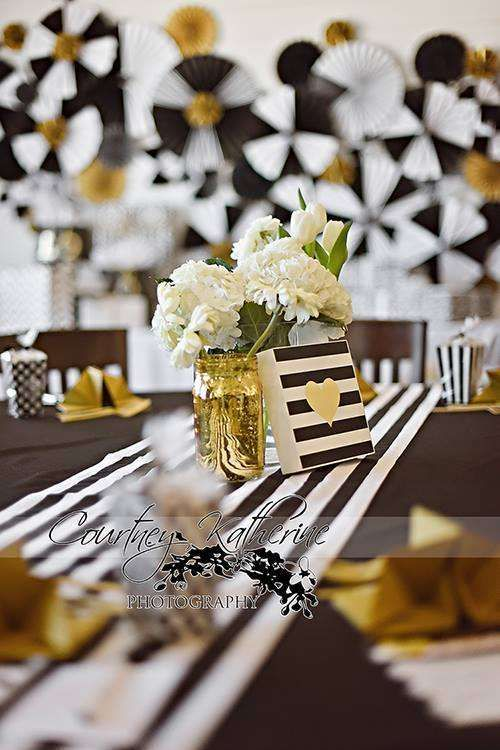 Glam table at a black, white & gold baby shower party! See more party planning ideas at CatchMyParty.com!