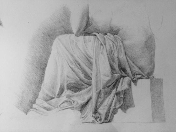 Pencil drapery study in the V&A