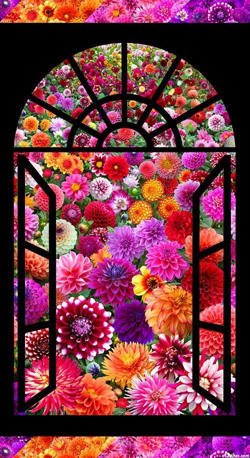 Dahlia Garden - Rainbow Window - Quilt Fabrics from www.eQuilter.com