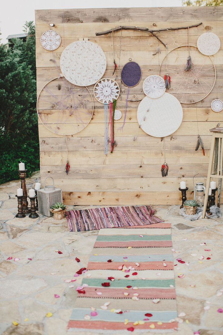decor for the wedding ceremony in the style of boho
