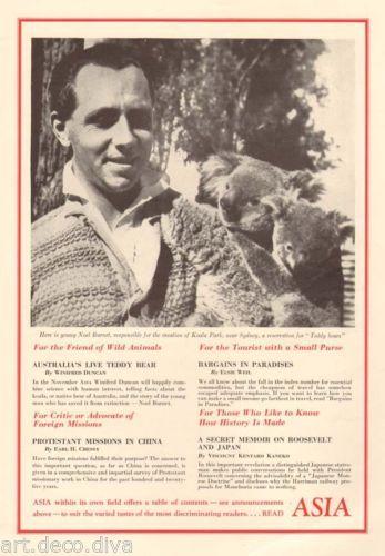 1930s vintage Koala Bear Park poster with the founder, NOEL BURNET