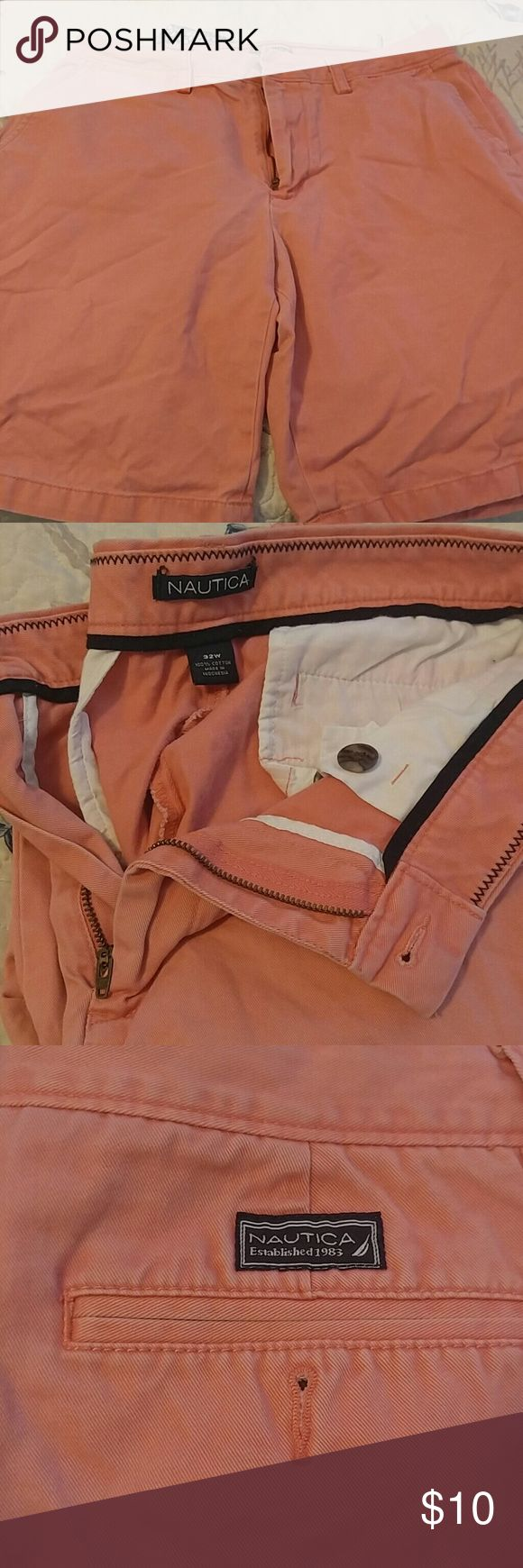 Men's Nautica coral flat front shorts 32w Gently worn mens Nautica coral flat front cotton twill shorts 32w Nautica Shorts Flat Front