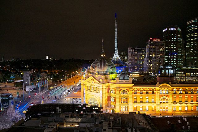 'Nite Art -Flinder St Station, Melbourne' on Flickr. Ah Melbourne!!