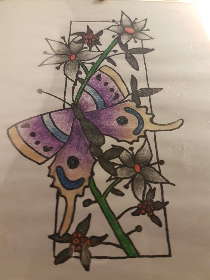 Doodle flowers and butterfly