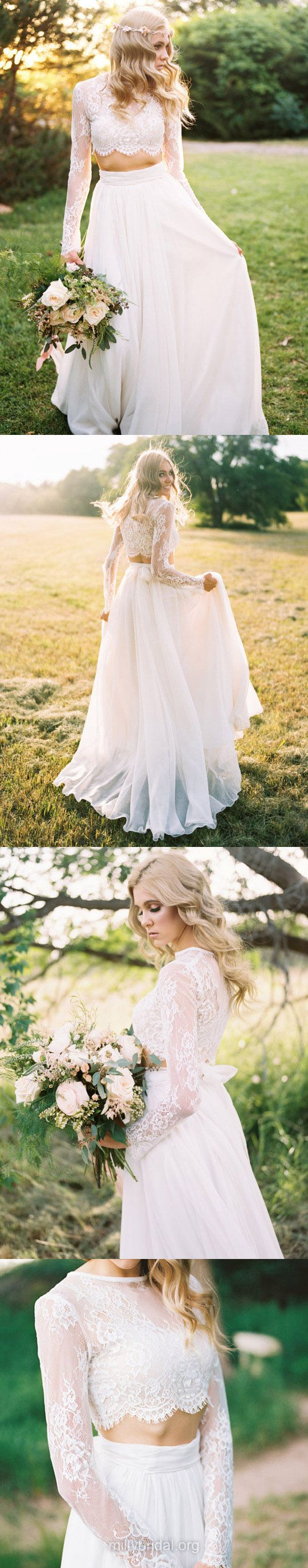 Two Piece Wedding Dresses Lace, Long Sleeve Bridal Gowns A-line, Scoop Neck Wedding Dress Chiffon Tulle