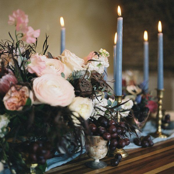 Inspired by Rococo oil paintings, a dreamy palette of powder blues and blush pinks is interwoven with whimsical calligraphy for an moody fine art editorial.
