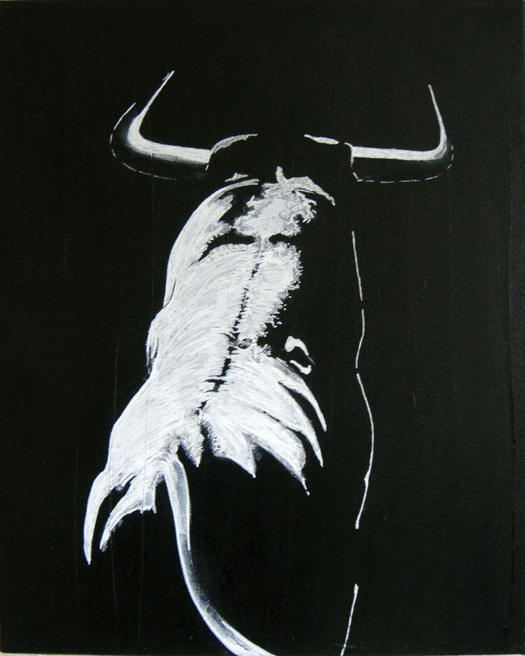 Taureau peinture l 39 huile et posca blanc spain painting - Pinterest peinture a l huile ...