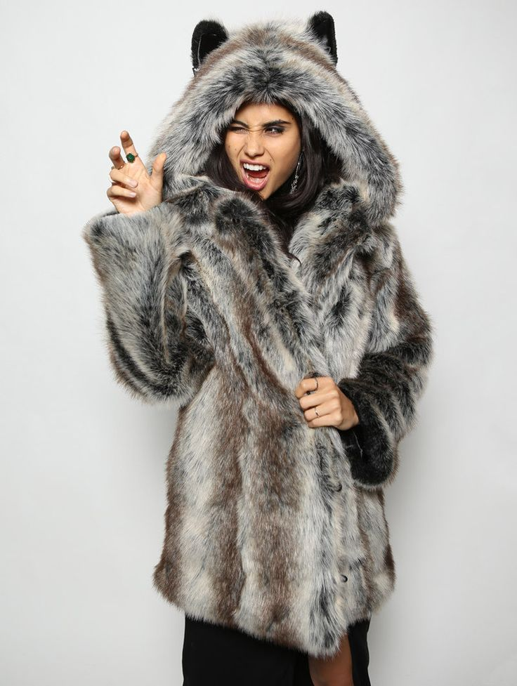 Grey Wolf Faux Fur faux fur animal inspired coat (100% Vegan). Available in Small, Medium & Large (unisex).