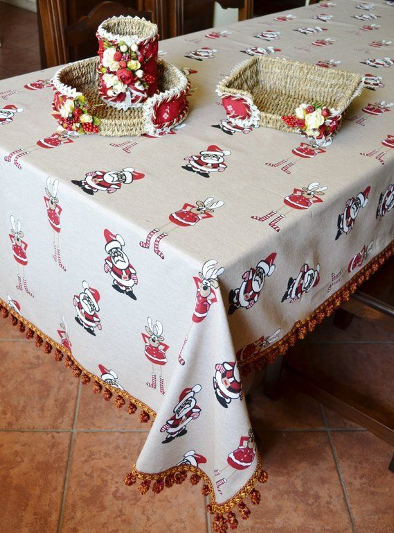 DEER TABLE CLOTH - PatriziaB.com  Unique Yultide table cloth in linen blend fabric. An amusing lay out of funny deer and playful Santas who will light up your holiday table