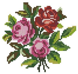This is a unique cross stitch pattern with roses from the 19th century. It was intended for wool Berlinwork, but you can also use simple cotton threads, silk or even beads. The pattern is perfect for decorating of small items like linen, boxes, cards and looks pretty both at Aida and evenweave. You can stitch it either in cross stitch, or in petit-point. The reconstruction is made for DMC threads. 63 x 59 stitches 15 colours The pattern is in .pdf format and includes both black-and-white…