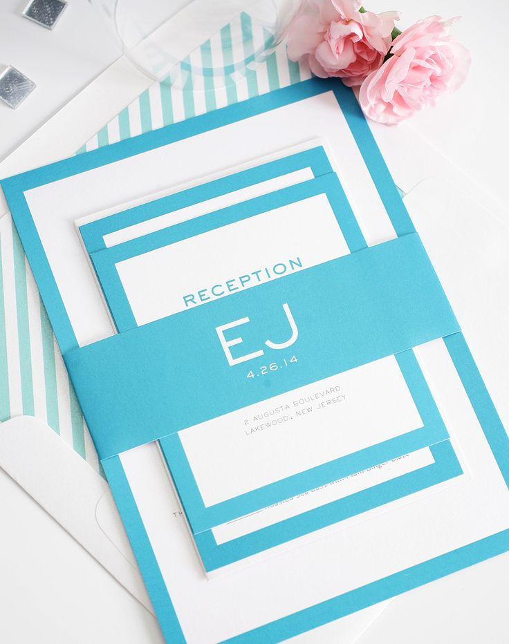 Stylish Modern Wedding Invitations with Monogram in bright blue. Modern Luxe wedding invitation design.