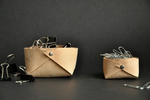 DIY Folded leather basket by Between the lines