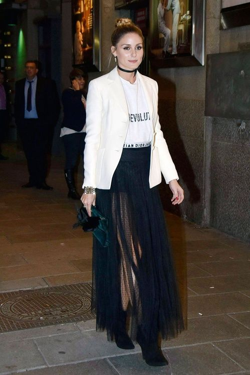Olivia Palermo en robe Dior de la collection printemps-été 2017 à Madrid