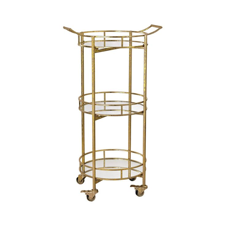 Formal entertaining calls for elaborate serving elements, and this Bristol Bar Cart stands ready to co-host a fancy soiree. Three elegant layers of round mirrored trays provide organized beverage servi...  Find the Bristol Bar Cart, as seen in the Bohemian Meets Mid-Century Collection at http://dotandbo.com/collections/bohemian-meets-mid-century?utm_source=pinterest&utm_medium=organic&db_sku=115714