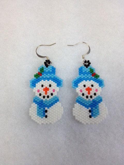 Brick Stitch Snowmen Earrings by BeadingBeeCreations on Etsy,