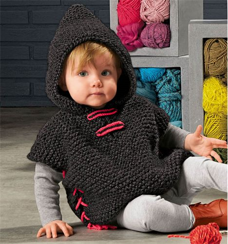 Bergere de France Hooded Poncho Pattern. 12-24 months