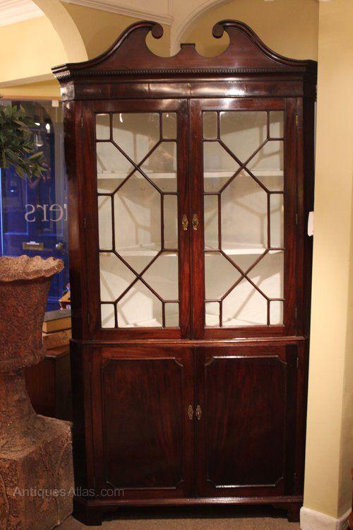 Georgian Mahogany Glazed Corner Cupboard - Antiques Atlas