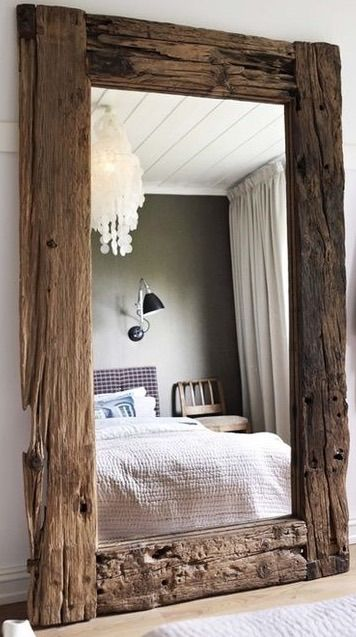 A Full Length Mirror Framed In Old Wood Rustic Woodsy