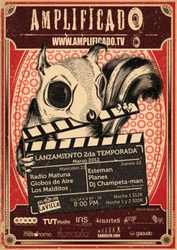 AMPLIFICADO Lanzamiento 2da Temporada / www.amplificado.tv / www.facebook.com/Amplificado.tv Ilustración y diseño para los amigos de AMPLIFICADO TV, en su primer mini-festival de dos jornadas, con la participación de bandas como RadioMatuna / Globos...