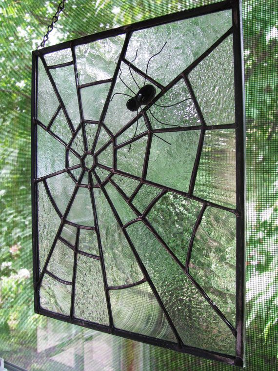 Stained Glass Spider and Web Panel by RedfordGlassStudio on Etsy, $75.00
