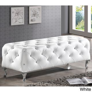 A white bench with crystal-look beads in every tuft for the end of your bed or in your dream walk-in closet.