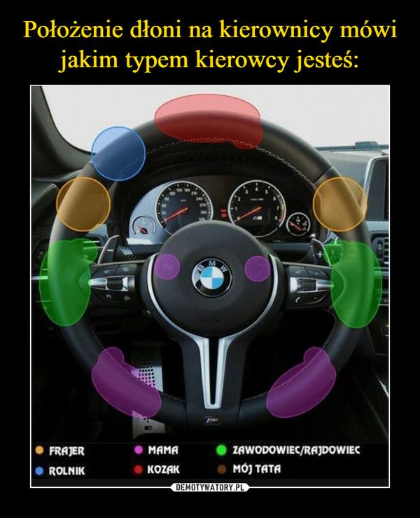 – zabawne, że nie wiadomo jak kierownicę trzyma papa xD