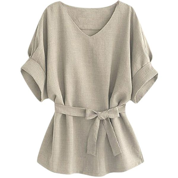 Womens Plus Size V Neck Tunic Short Sleeve Blouse Gray (£13) ❤ liked on Polyvore featuring tops, grey, plus size v neck tops, gray top, short sleeve tops, womens plus tops and plus size short sleeve tops