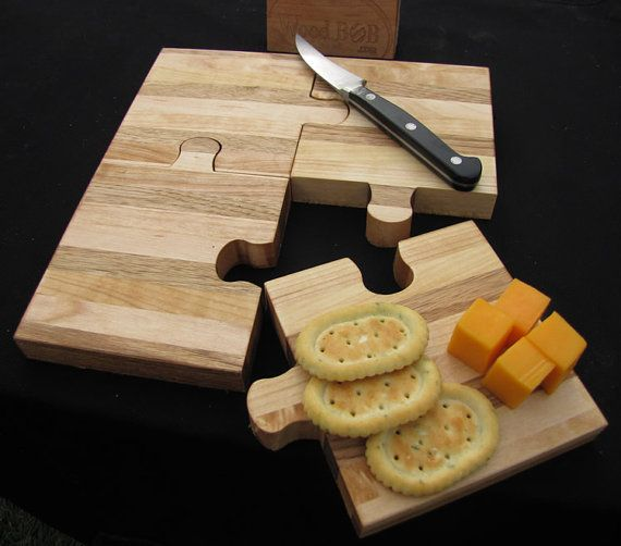 Love this wooden puzzle cutting board! Or cutting boards. :-) It's from woodbob, on Etsy. :-)