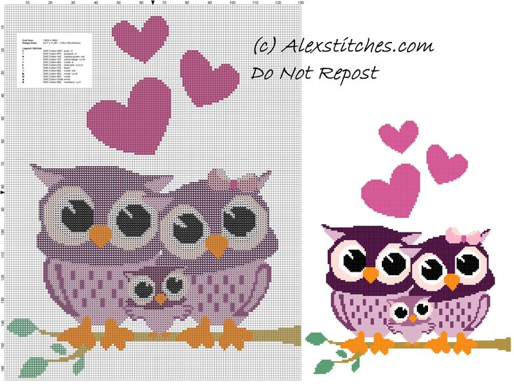 Owls family free cross stitch pattern - free cross stitch patterns by Alex