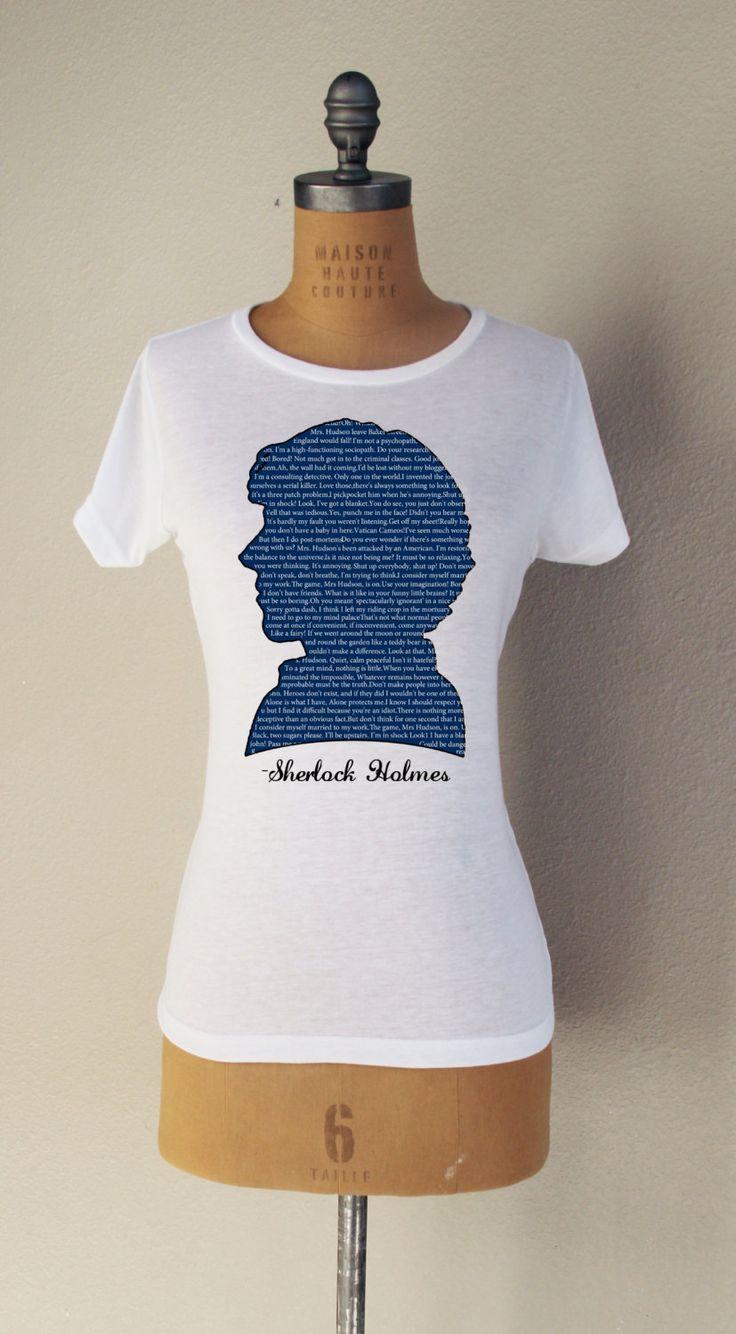 "SHERLOCK ""Sherlock Quotes"" Short Sleeved Fan Shirt White ..."