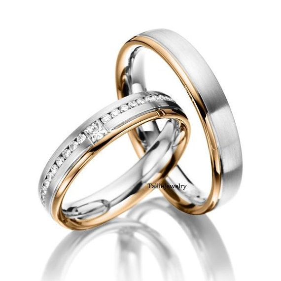 Wedding Rings His Hers Mens Womens Matching White And Rose Gold Two Tone Bands Set With Diamonds Wide Sizes