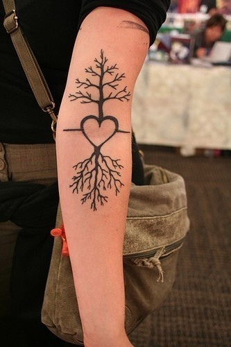 Tree Heart Tree Tattoo - I want to incorporate this concept into my love tattoo and have my sons' names in the roots... thinking of having the tree be a cherry tree but not pink