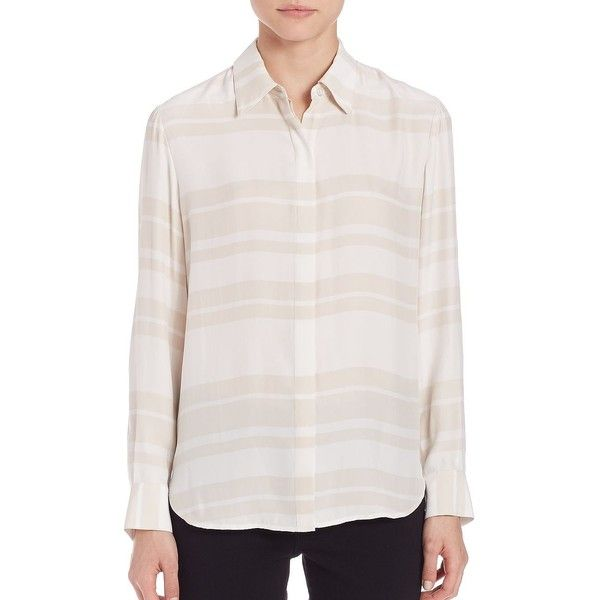 FRAME Essential Long Sleeve Silk Blouse (3.125.235 VND) ❤ liked on Polyvore featuring tops, blouses, apparel & accessories, pink striped top, long sleeve blouse, slouchy tops, pink top and stripe top