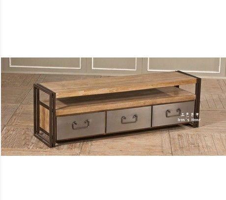 Pays d'amérique loft de fer table basse en bois meuble tv entrée tiroirs des armoires de stockage dans  de  sur Aliexpress.com