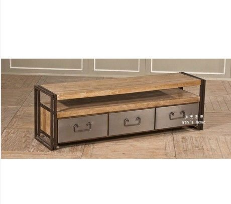 Pays d 39 am rique loft de fer table basse en bois meuble tv for Table bois fer industriel