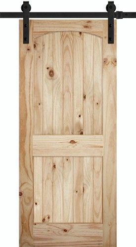 "7'0"" Tall 2-Panel Arch V-Grooved Knotty Pine Barn Door Slab with Sliding Door Hardware Kit"