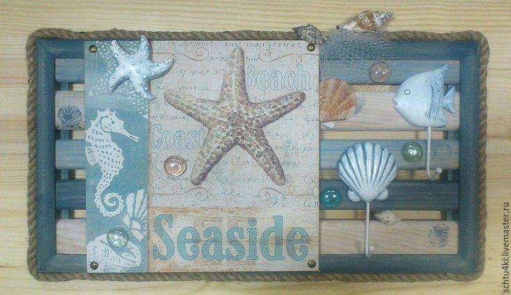 Купить Ключница с кармашком для почты - комбинированный, ключница, морской стиль, ракушки, морские звезды, морской