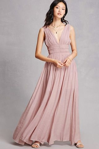 A crinkled woven maxi dress featuring a sleeveless cut, plunging V-neck and back, caged elasticized sides, and an M-slit skirt.<p>- This is an independent brand and not a Forever 21 branded item.</p>